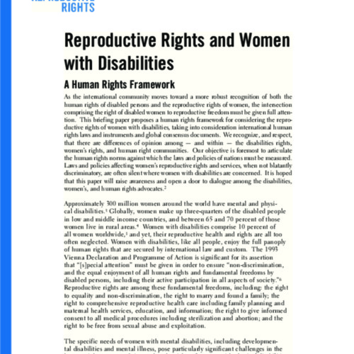 Reproductive Rights and Women with Disabilities: A Human Rights Framework