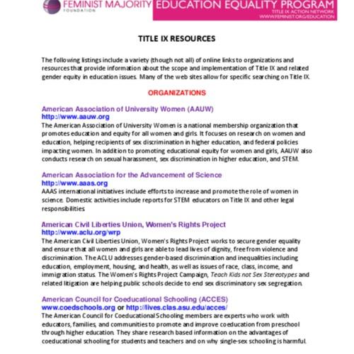 Feminist Majority Foundation's Education Equality Program, Title IX Resources